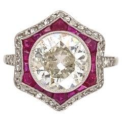 Art Deco Revival Old European Diamond Ruby and Diamond Surround Platinum Ring
