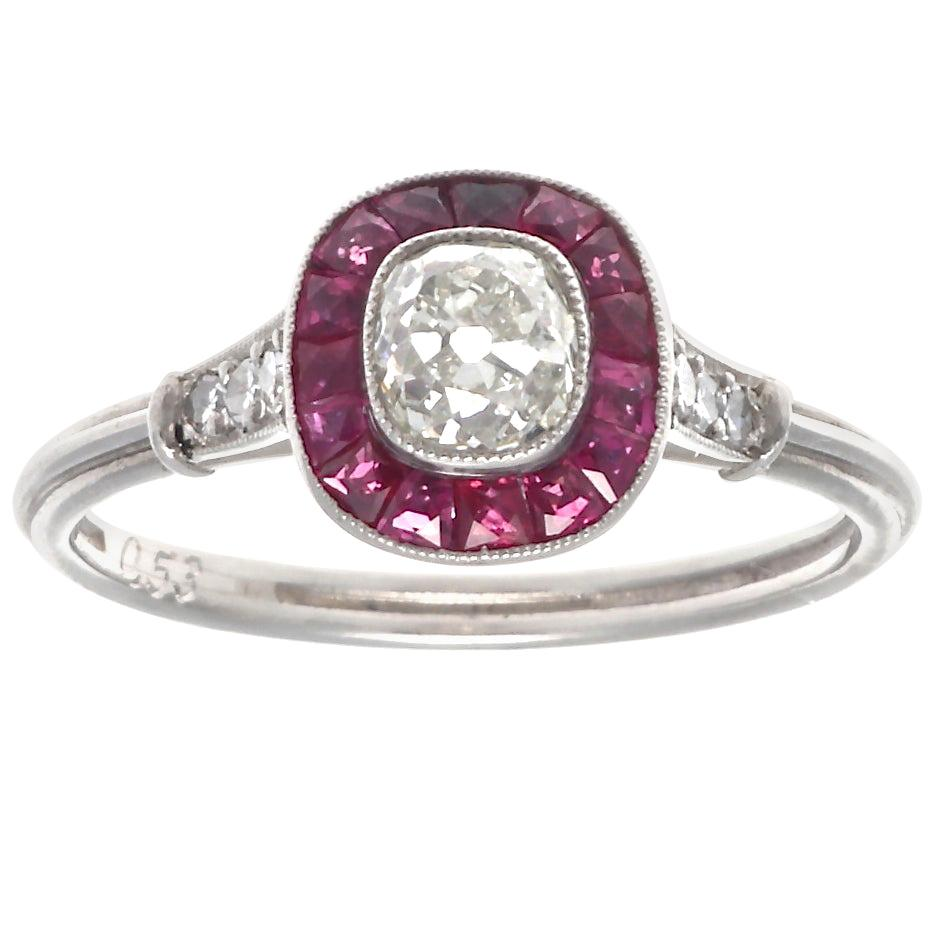 Art Deco Style Old Mine Cut Diamond Ruby Platinum Ring