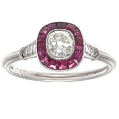 Art Deco Revival Old Mine Cut Diamond Ruby Platinum Ring