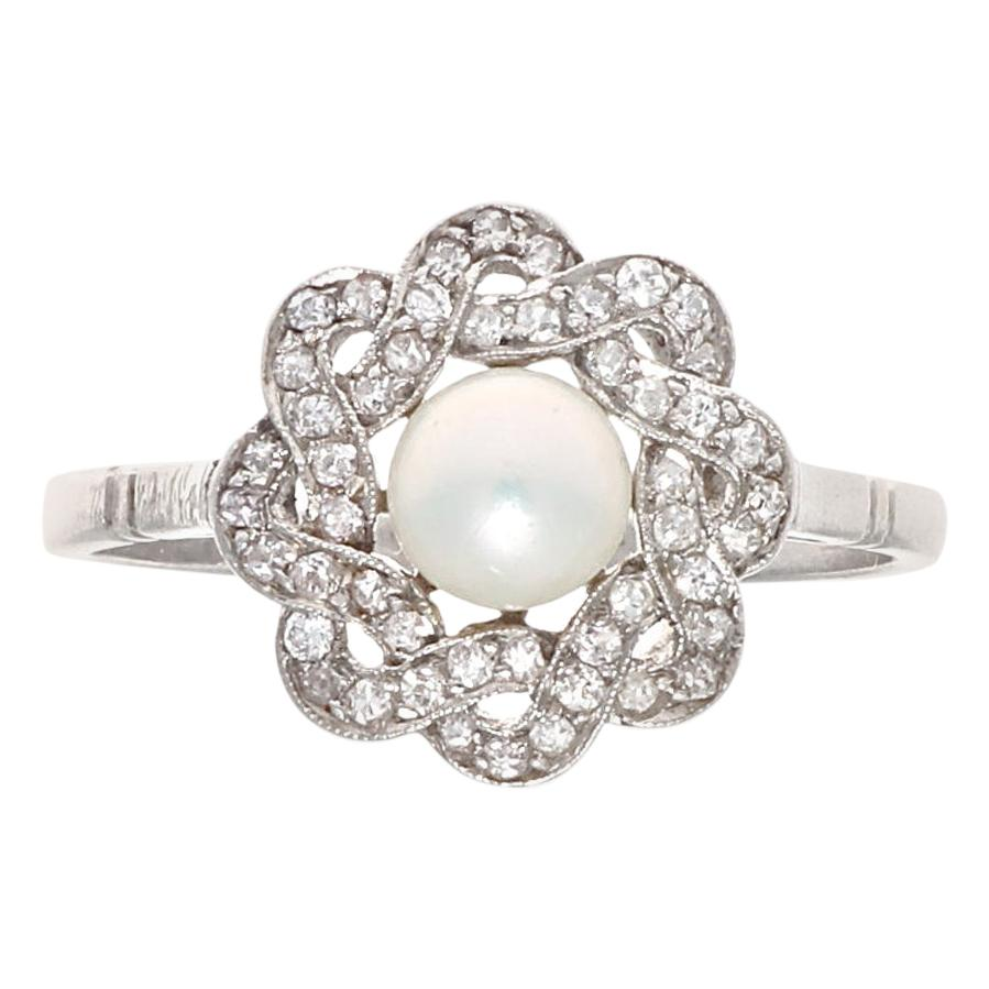 Art Deco Style Pearl Diamond Platinum Ring