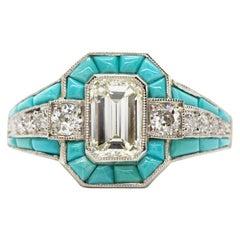 Art Deco Revival Platinum Diamonds and Turquoises Ring