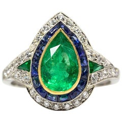 Art Deco Revival Platinum Emerald and Diamonds Ring