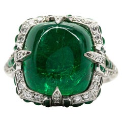 Art Deco Revival Platinum Emerald and Diamonds Ring