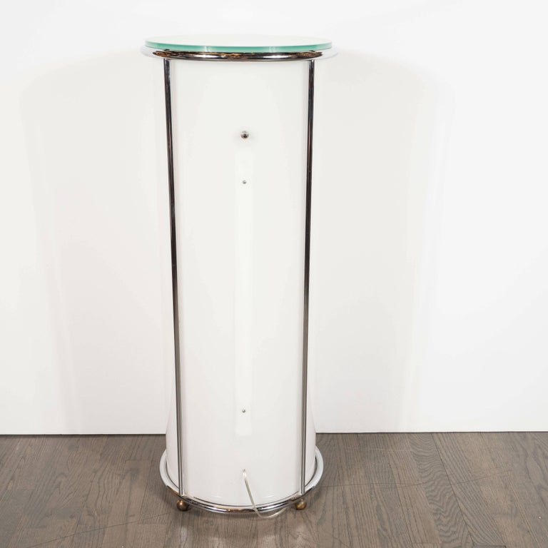 Art Deco Revival Plexi, Chrome and Glass Illuminated Pedestal For Sale 5