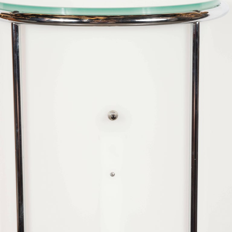 Art Deco Revival Plexi, Chrome and Glass Illuminated Pedestal For Sale 6