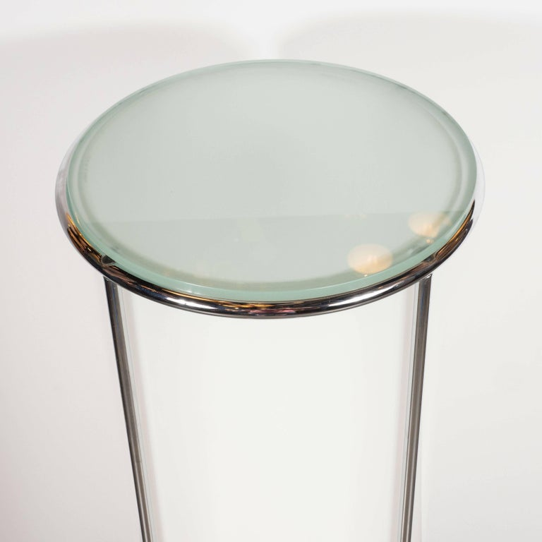 Late 20th Century Art Deco Revival Plexi, Chrome and Glass Illuminated Pedestal For Sale