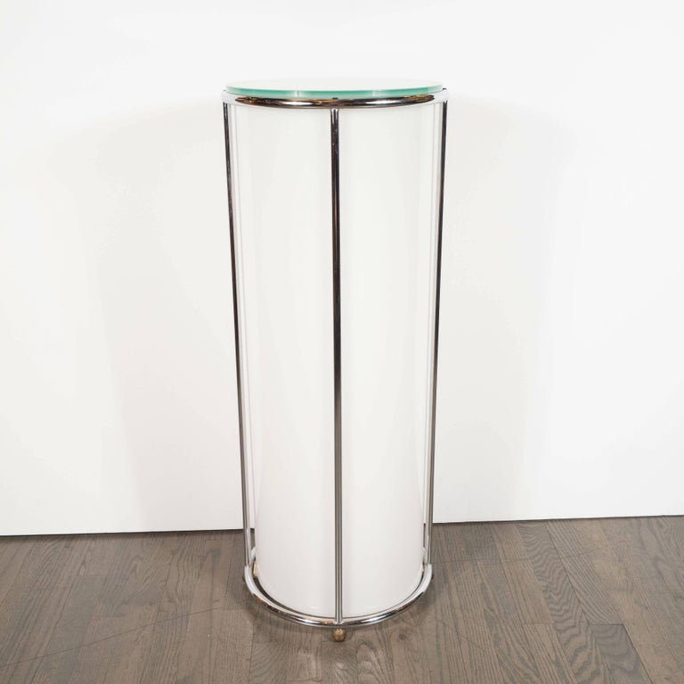 Art Deco Revival Plexi, Chrome and Glass Illuminated Pedestal For Sale 1