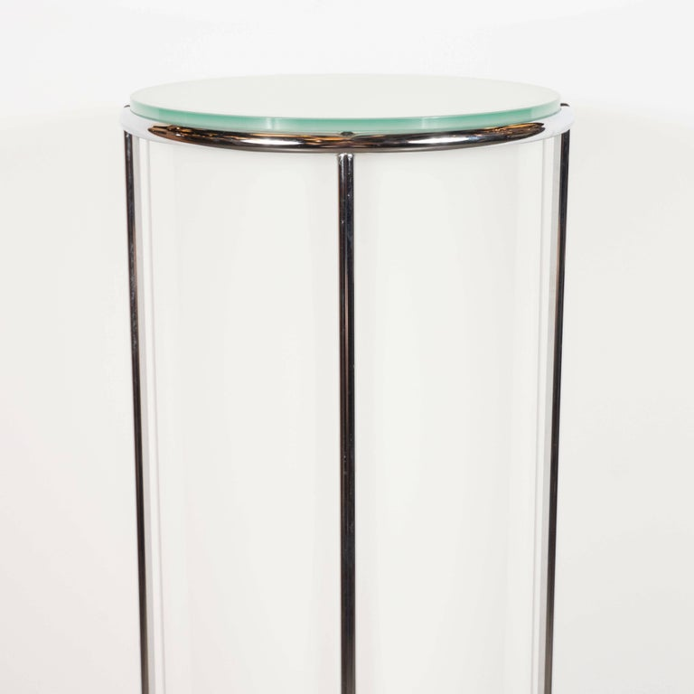 Art Deco Revival Plexi, Chrome and Glass Illuminated Pedestal For Sale 2
