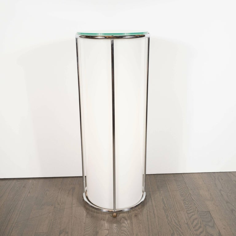 Art Deco Revival Plexi, Chrome and Glass Illuminated Pedestal For Sale 3