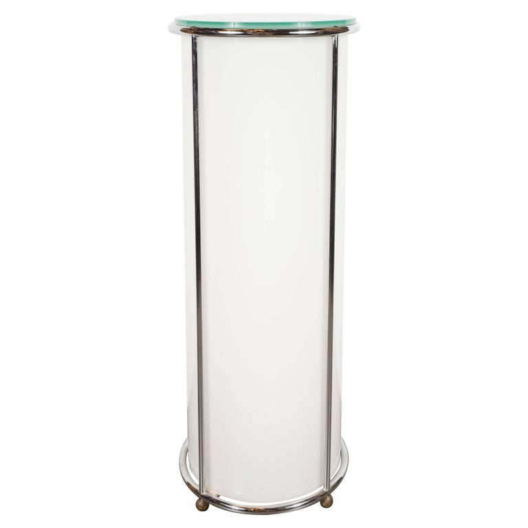 Art Deco Revival Plexi, Chrome and Glass Illuminated Pedestal For Sale
