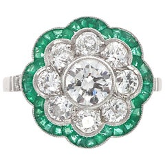 Art Deco Style Round Cut Diamond Emerald Platinum Ring