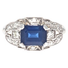 Art Deco Revival Sapphire Diamond Platinum Engagement Ring