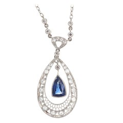 Art Deco Revival Sapphire Diamond Platinum Necklace