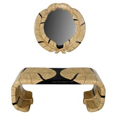 Art Deco Revival Tessellated Marble Console Table & Mirror Style Maitland Smith