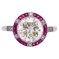 Art Deco Revival Transitional Diamond Ruby and Diamond Surround Platinum Ring