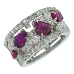 Art Deco Style Tutti-Frutti Band Ring Ruby Diamond Platinum