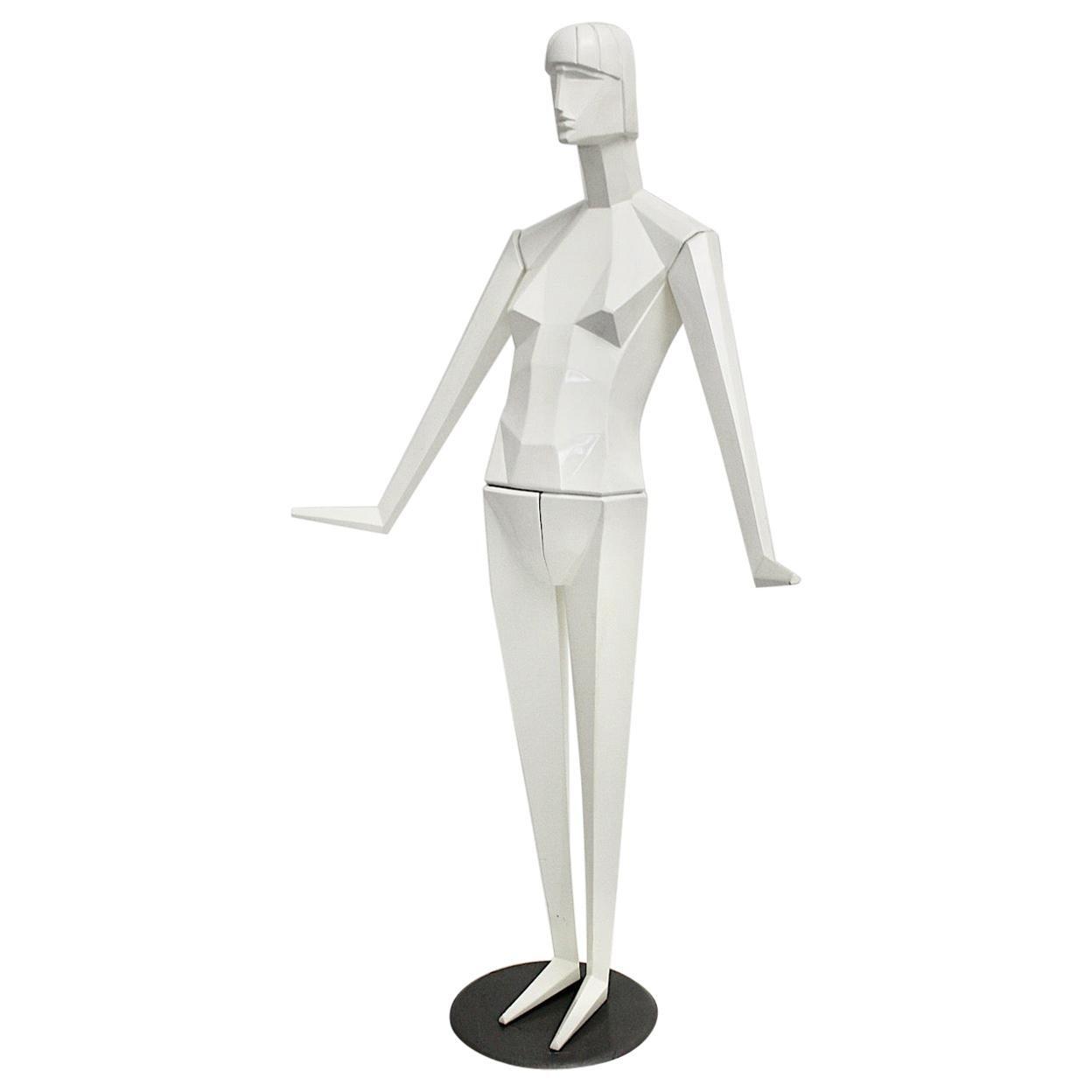 Art Deco Revival White Full Body Vintage Plastic Mannequin, 1980s, France