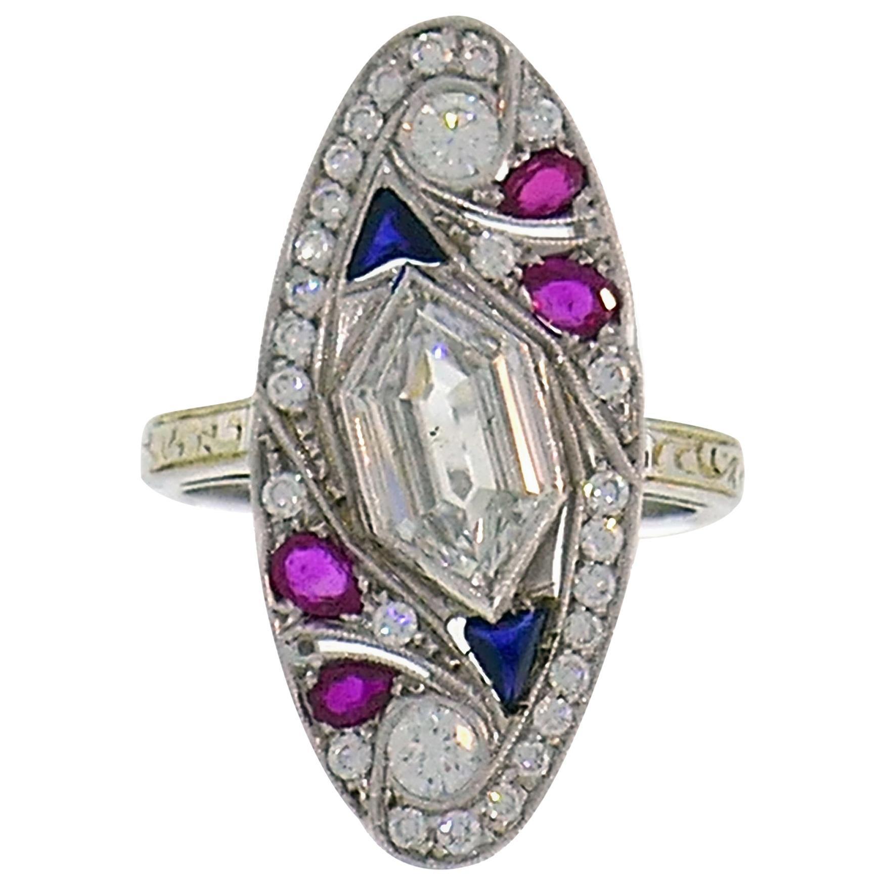Art Deco Style White Gold Ring Diamond Sapphire Ruby
