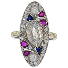 Art Deco Revival White Gold Ring Diamond Sapphire Ruby