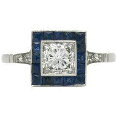 Art Deco Revivalist Princess Cut Diamond Engagement Ring French Cut Sapphires