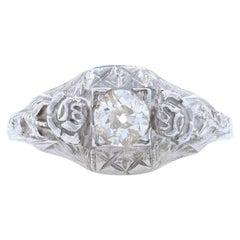 Art Deco Ring, 18 Karat White Gold Vintage European Cut Diamond .25 Carat