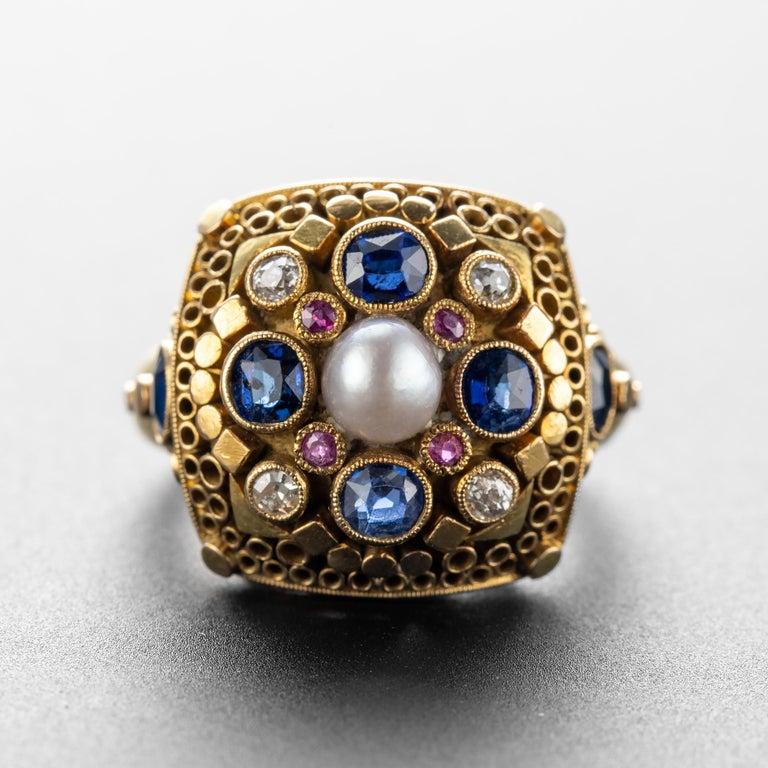Artisan Art Deco Ring by Elmar Seidler For Sale