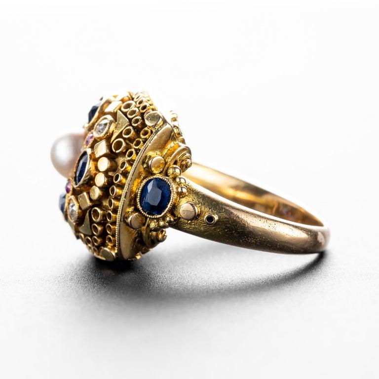 Round Cut Art Deco Ring by Elmar Seidler For Sale