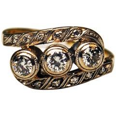 Art Deco Ring Gold 585 Diamonds 0.80 Carat Vienna Austria, circa 1930