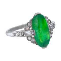 Art Deco Ring of Translucent Jade, Diamond and Platinum