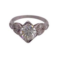Art Deco Ring w Diamonds in Platinum, 1.70 Carats VS2 Clarity