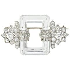 Art Deco Rock Crystal 5.08 Carat Diamond Platinum Floral Brooch