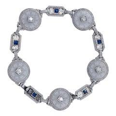 Art Deco Rock Crystal and Diamond Bracelet