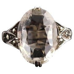 Art Deco Rock Crystal and Marcasite Ring, Sterling Silver
