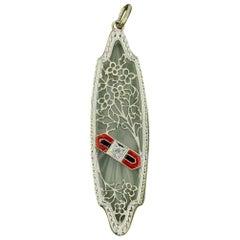 Art Deco Rock Crystal Diamond Enamel Pendant Flower Filigree 14 Karat White Gold