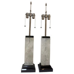 Art Deco Rock Crystal Lamps, Marble, Polished Nickel