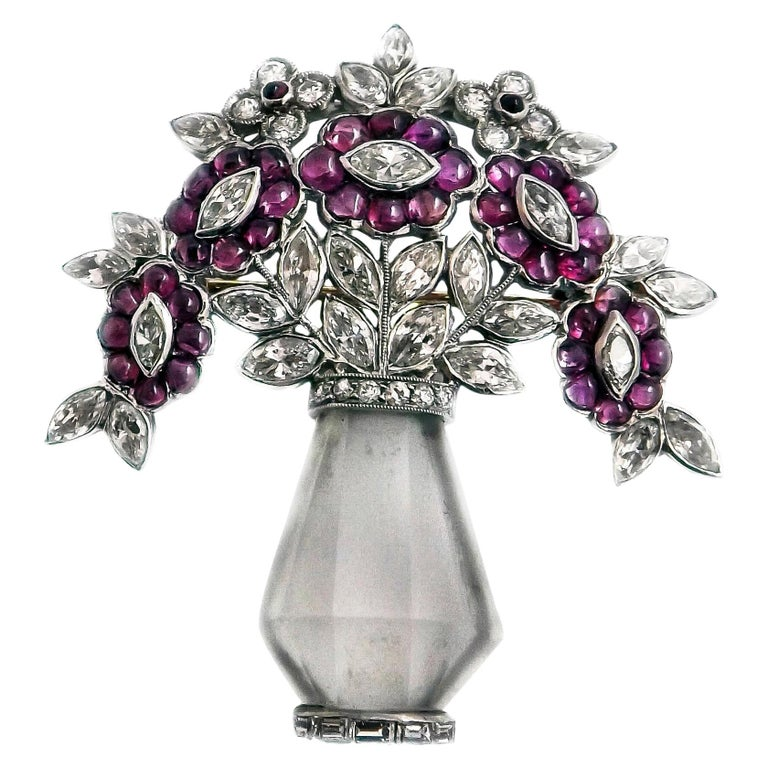 Art Deco Rock Crystal Ruby Diamond Platinum Brooch For Sale
