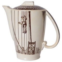 Art Deco Rockwell Kent Our America Coffee Pot for Vernon Kilns Cocktail Pitcher
