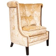 Art Deco Roll Top High Back Armchair
