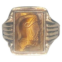 Art Deco Roman Centurion mens ring in Tiger Eye Onyx