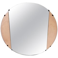Art Deco Rose Glass Round Wall Mirror, circa 1940s