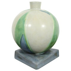 Art Deco Roseville Futura Lotus Leaf Ball Ceramic Art Vase Vessel Green Blue