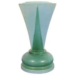 Art Deco Roseville Futura Shooting Star Shaped Ceramic Art Vase Vessel Green