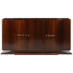 Art-Deco Rosewood and Black Marble Sideboard from De Coene Frères, Belgium 1930s