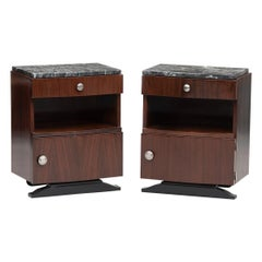 Art Deco Rosewood and Marble Nightstands