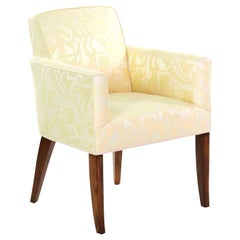 Art Deco Rosewood Armchair in Yellow Damask, France, circa 1935