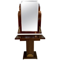 Art Deco Rosewood Console and Mirror, Vanity Set
