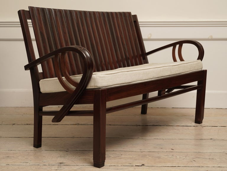 Art Deco Rosewood Living Room Set of Loveseat and Pair of Chairs with Cushions In Good Condition For Sale In Nantucket, MA