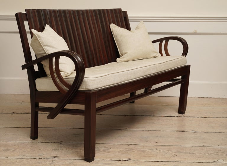 20th Century Art Deco Rosewood Living Room Set of Loveseat and Pair of Chairs with Cushions For Sale