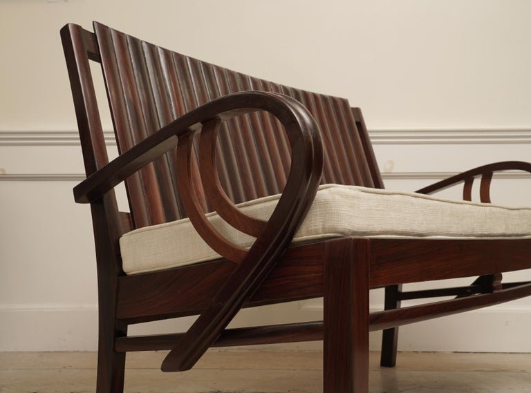 Art Deco Rosewood Living Room Set of Loveseat and Pair of Chairs with Cushions For Sale 10
