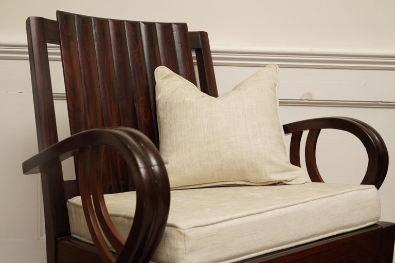 Art Deco Rosewood Living Room Set of Loveseat and Pair of Chairs with Cushions For Sale 11